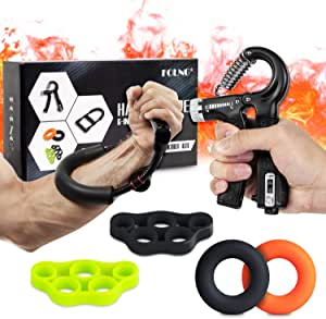 Hand Grip Strengthener,Hand Exerciser 6Pcs Forearm Trainer with Adjustable Resistance Hand Gripper, Wrist Strengthener, Grip Ring Exerciser, and Finger Stretcher for Men and Women, Injury Recovery