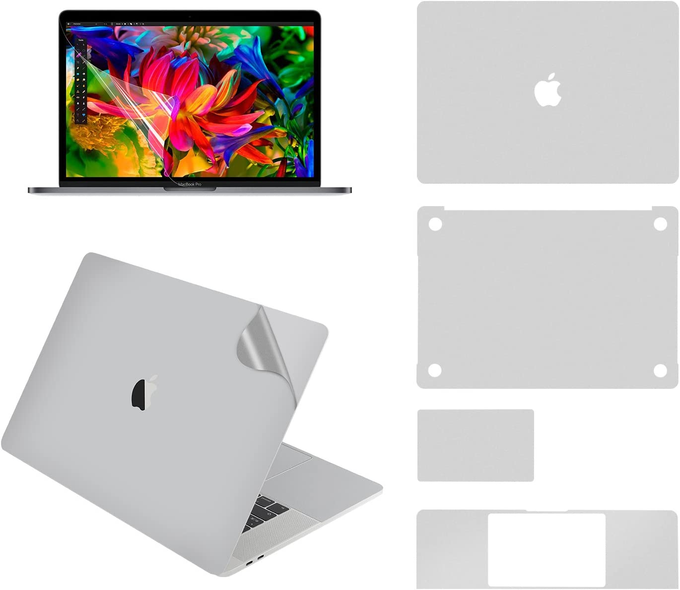 LENTION Full Body Skin for MacBook Pro (15-inch, 2016-2019), Model A1707/A1990, Full-Cover Protective Vinyl Decal Stickers (Top/Bottom/Touchpad/Palm Rest) + Screen Protector (Silver)