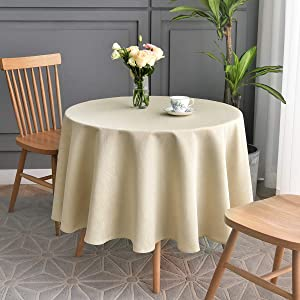 maxmill Jacquard Round Table Cloth Swirl Design Waterproof Antiwrinkle Heavy Weight Soft Tablecloths for Circular Table Cover and Kitchen Dinning Tabletop Round 70 Inch Beige