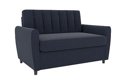Novogratz Brittany Sleeper Sofa, Premium Linen Upholstery And Wooden Legs,  Blue Linen