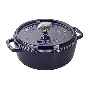 Staub Cast Iron 6-qt Cochon Shallow Wide Round Cocotte - Dark Blue