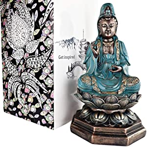 "25DOL Buddha Statues for Home. 13"" Kuan Yin Statue, Buddha Statue (Guan yin Statue/Padmapani on Lotus). Collectibles and Figurines, Meditation Decor, Spiritual Living Room Decor, Yoga Zen Decor"
