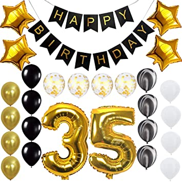 Amazon Happy 35th Birthday Banner Balloons Set For 35 Years Old