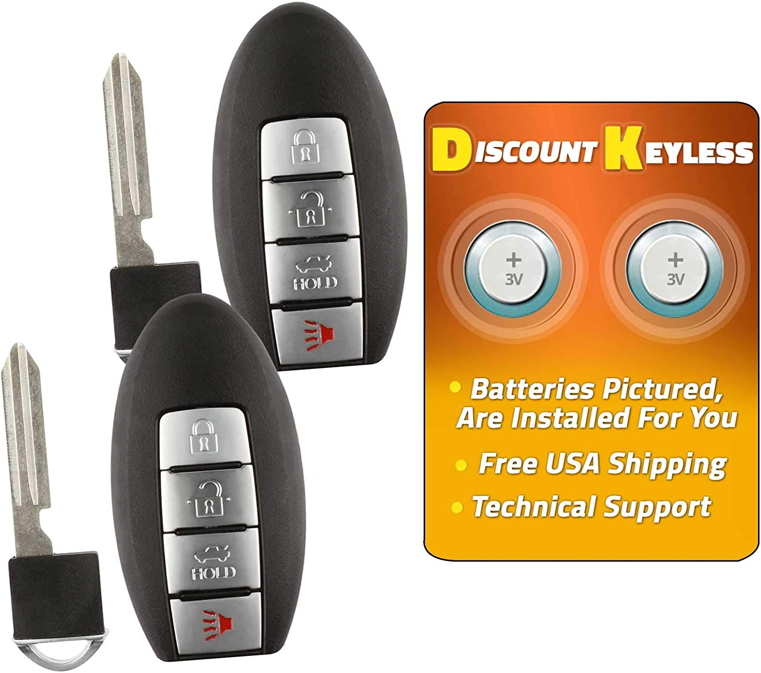 KeylessOption Keyless Entry Remote Smart Key Fob Case Shell Outer Cover For Nissan Altima Maxima Murano Infiniti G37 KR55WK48903