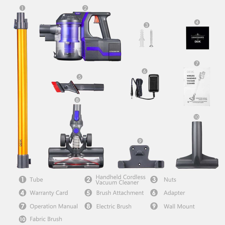 Aspiradora sin cable 2 en 1 de Deik, aspiradora con batería de 7,5 Kpa potente aspiración, depósito de polvo de 0,6 l, batería de iones de litio de 22,2 V y 2200