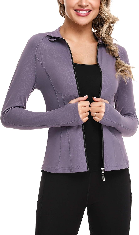 Sykooria Womens Track Jacket Yoga Jacket Full Zip Running Jacket Slim Fit Sports Define Jacket with Thumb Holes and Pockets