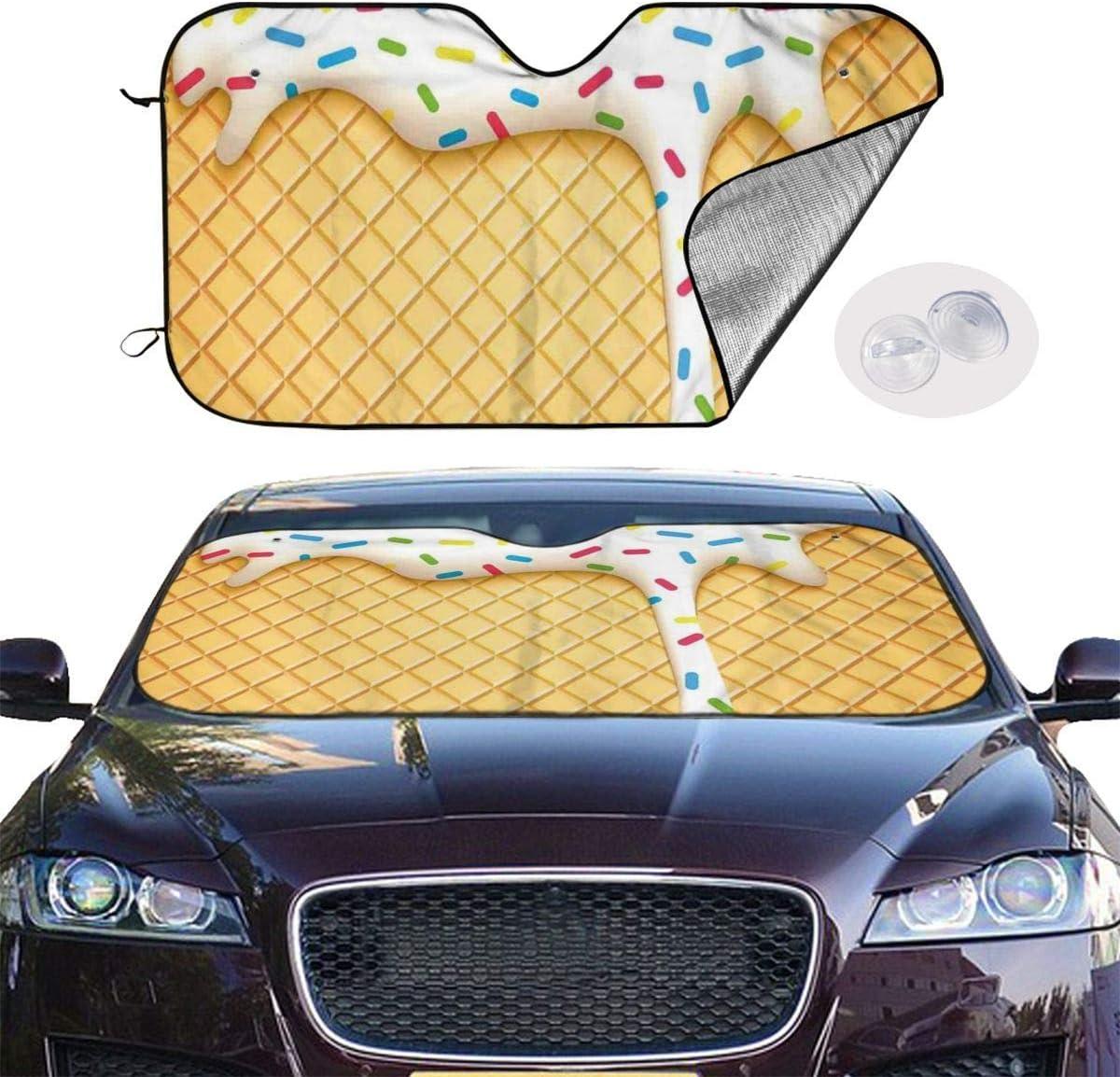 Y.Z.L Copertura Parabrezza Auto Coni Gelato di Fusione SpruzzaAnti UV Parasole Telo Parabrezza Auto 130x70cm