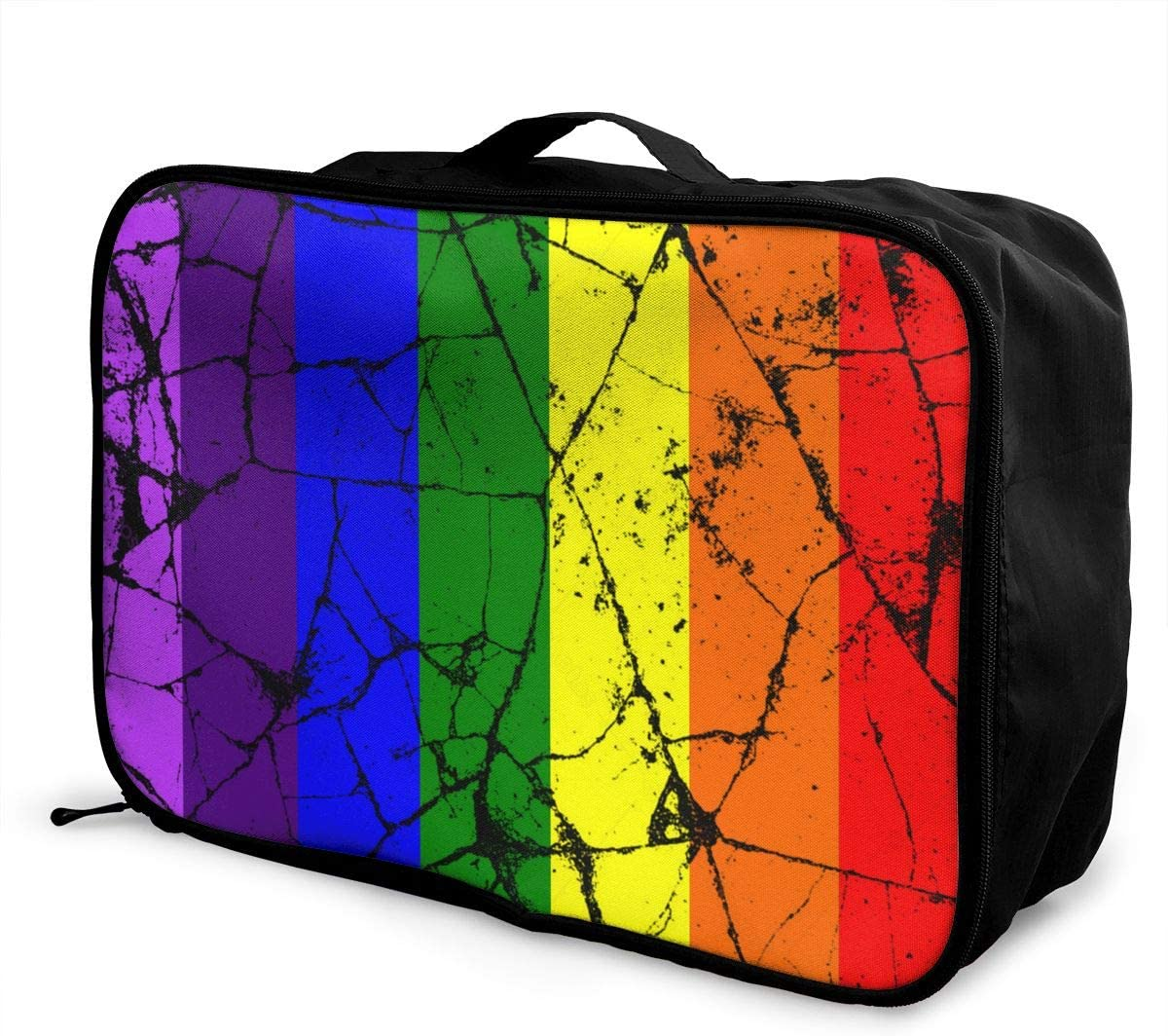 YueLJB Rainbow LGBT Flag Lightweight Large Capacity Portable Luggage Bag Travel Duffel Bag Storage Carry Luggage Duffle Tote Bag