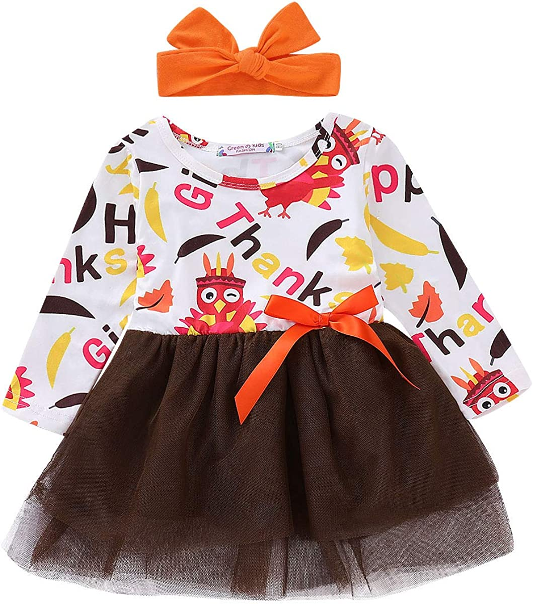 Headband MILWAY Kid Baby Girls Turkey Clothes Long Sleeve Tulle Tutu Dress Set