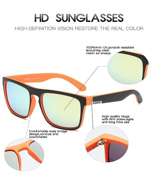 Amazon.com: DUBERY Polarized Sunglasses Classic 100% UV Protection Reflective Color Mirror Large Square for Men&Women-D731 (BLACK&ORANGE/YELLOW): Shoes