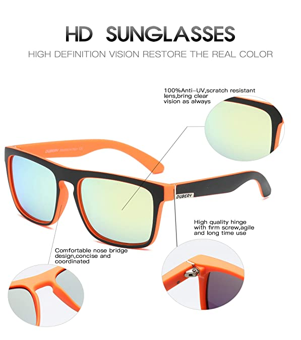 781de640e9 Amazon.com  DUBERY Polarized Sunglasses Classic 100% UV Protection  Reflective Color Mirror Large Square for Men Women-D731  (BLACK ORANGE YELLOW)  Shoes