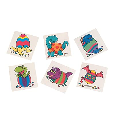 Fun Express Dinosaur Eggs & Easter Eggs Temporary Tattoos - 72 Pieces: Home & Kitchen