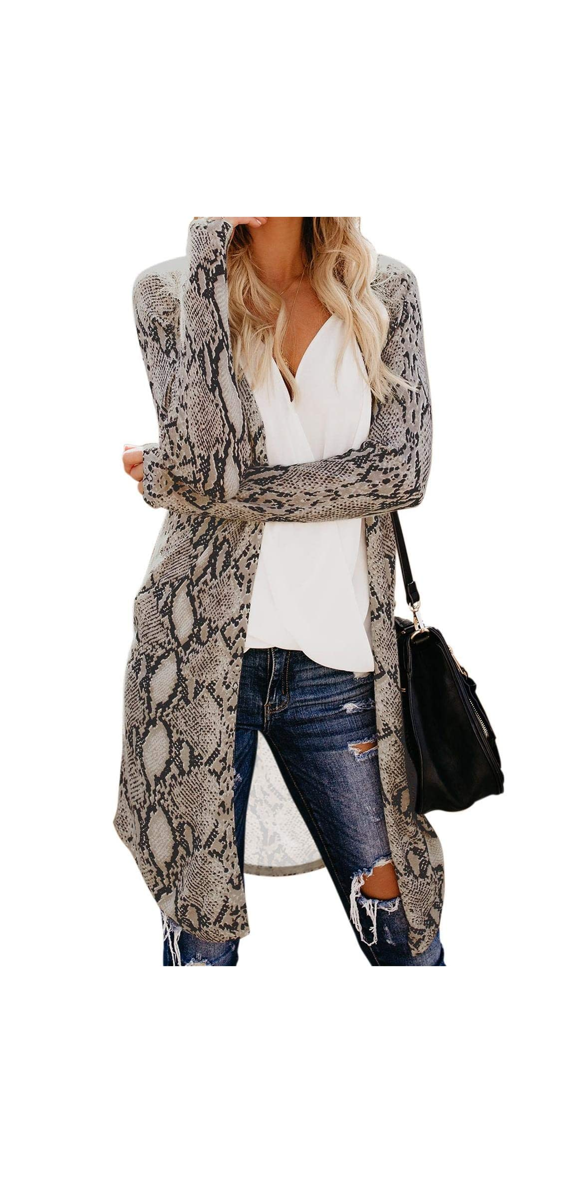 Womens Cardigans Long Open Front Button Down Knitted