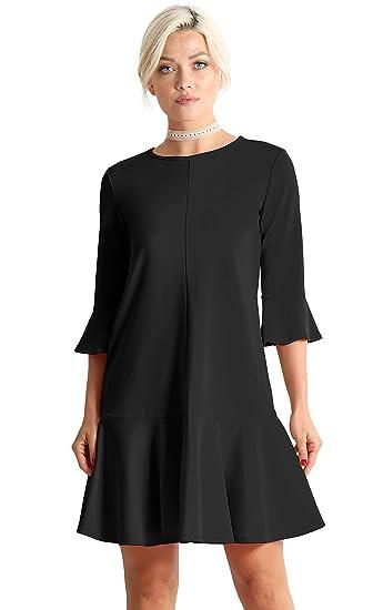Womens Cocktail 34 Sleeve Ruffle Hem Shift Dress Made In Usa At
