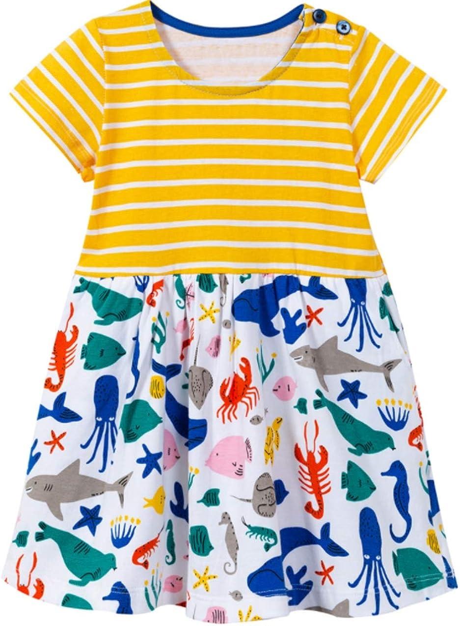 Toddler Girls Animal Stripe Cotton Dress Short Sleeves Casual Summer Basic Active Shirt Dresses