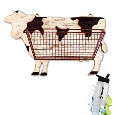Gift Included- Barnyard Animal Country Farmhouse Themed Kitchen Storage & Organization Wall Baskets Cow  + FREE Bonus Water Bottle by  Homecricket
