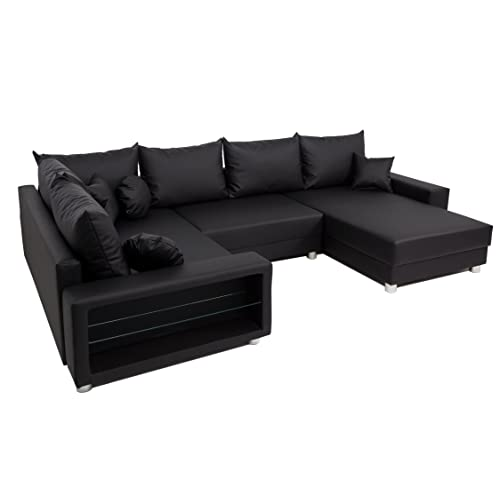 schwarze ledercouch. Black Bedroom Furniture Sets. Home Design Ideas