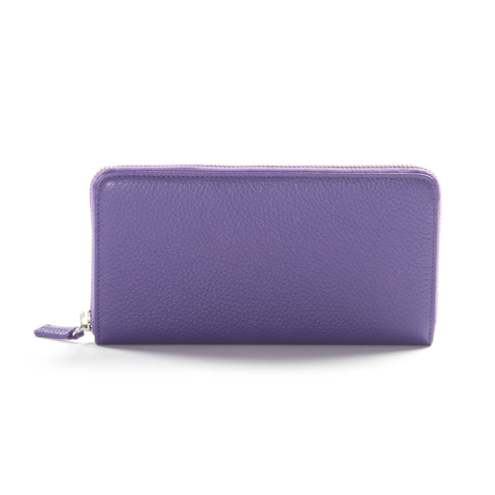 Zippered Continental Wallet - Full Grain Leather - Grape (purple)