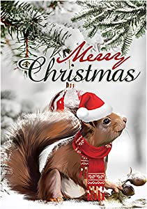 Texupday Merry Christmas Cute Red Scarf Squirrel Decoration Winter Garden Flag Outdoor Yard Flag 12