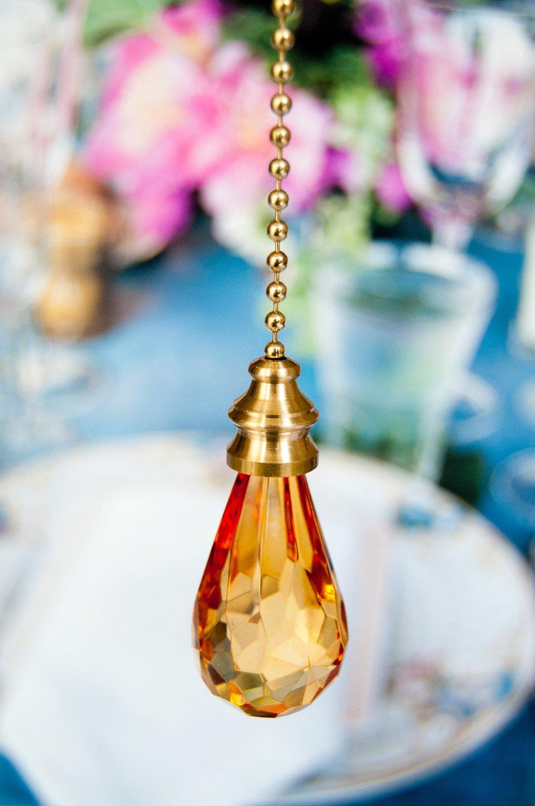 2 of Gorgeous Amber Crystal Rain Drop Ceiling Lighting Fan Pulls