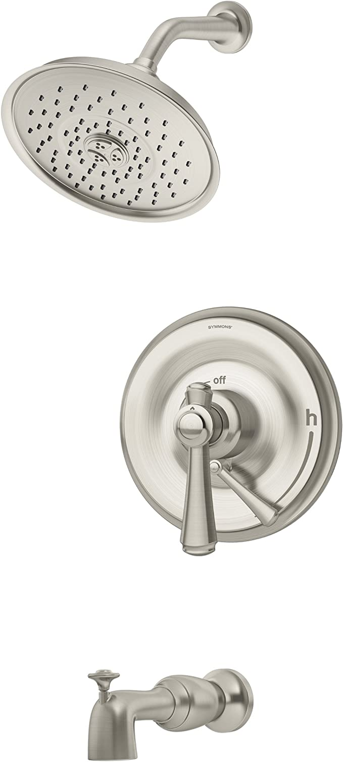 Symmons S 5402 Stn Trm Degas Single Handle Tub And Shower Faucet Trim With Integral Diverter In Satin Nickel Valve Not Included Tub And Shower Faucets Amazon Com