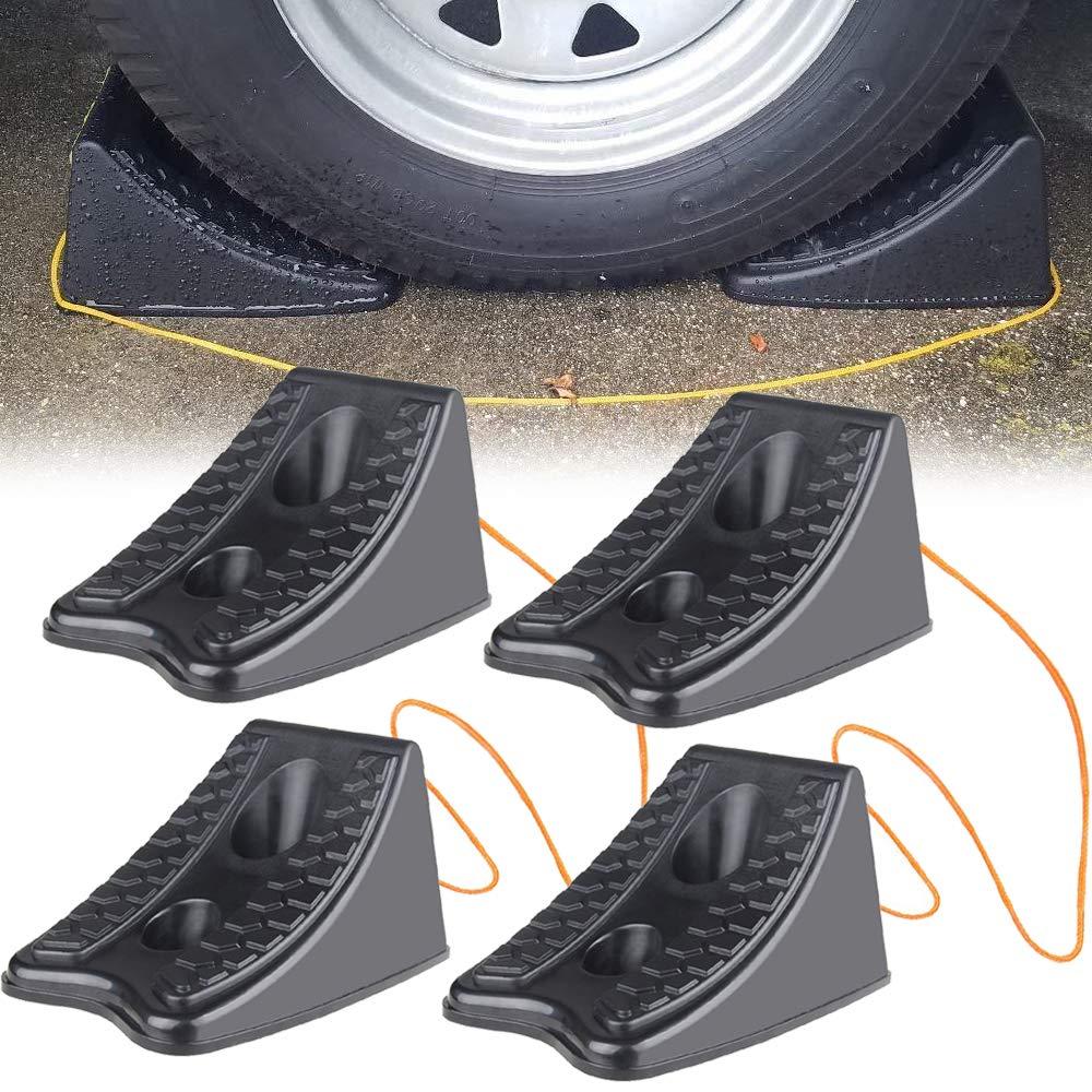 AMUNIESUN 4PCS Wheel Chock for Caravan Car Pickup Motorcycle Truck Wheel Stoppers(Size 4.1''X5.7''X5.3'')