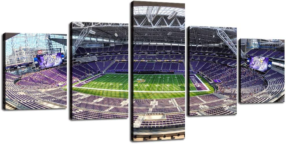 Native American Decor Minnesota Vikings Pictures US Bank Stadium Paintings 5 Panel Canvas Wall Art Modern Artwork Home Decorations for Living Room Framed Gallery-wrapped Ready to Hang [50''W x 24''H]