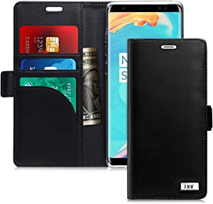 FYY [Genuine Leather] [RFID Blocking] Wallet Case for Samsung Galaxy Note 8 2017, Handmade Flip Folio Wallet Case with Kickstand and Card Slots for Samsung Galaxy Note 8 2017 Black
