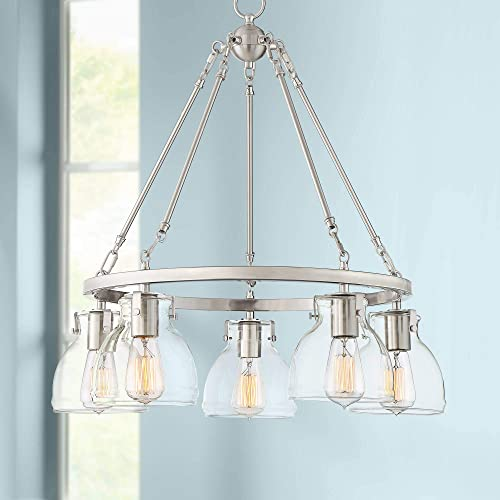 Bellis Brushed Nickel Wagon Wheel Pendant Chandelier 24 Wide Modern Vintage Clear Glass Shades 5-Light Fixture for Dining Room House Island Entryway Bedroom Living Room – Possini Euro Design