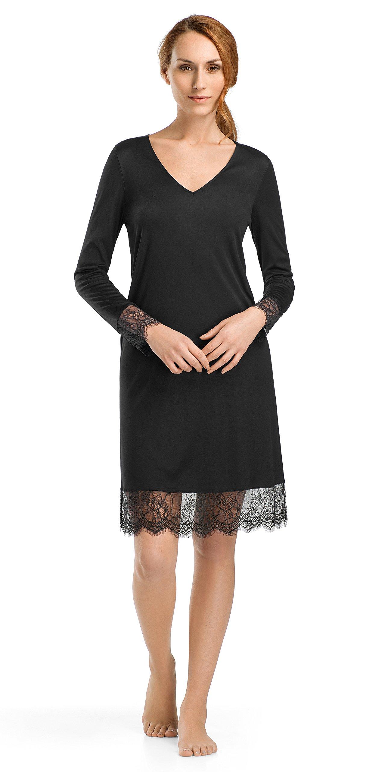 Hanro Women's Estelle Long Sleeve Gown, Black, Large