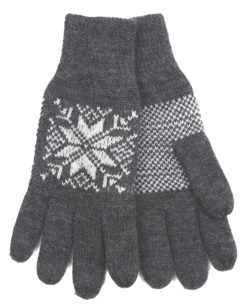 Norlender 100% Norwegian Wool Snowflake Gloves (Grey)