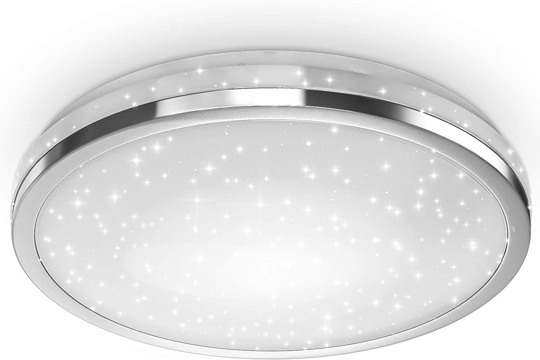 B.K.Licht LED Deckenlampe mit Sternendekor I 24W LED Platine I Sternenhimmel I 2200lm I neutralweiße Lichtfarbe 4000K I Deckenleuchte I Ø380mm