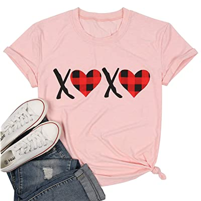 XOXO Heart Plaid Shirt Women Valentines Day T-Shirt Letter Print O-Neck Tee Short Sleeve Tops Blouse at Women's Clothing store