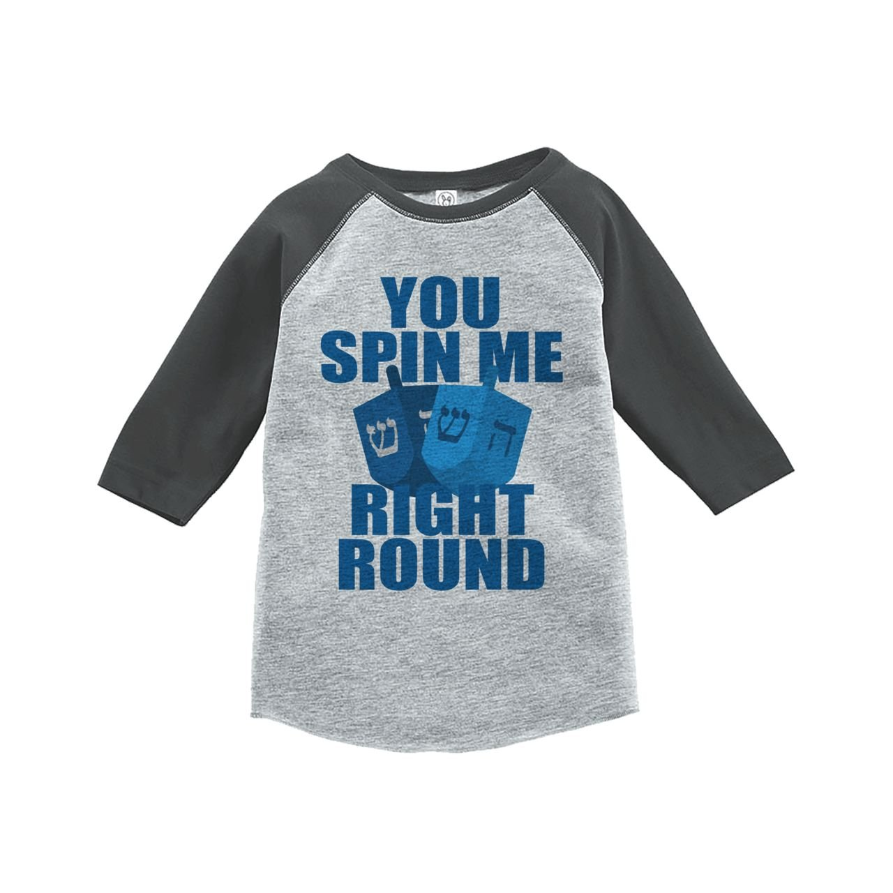 Custom Party Shop Babys You Spin Me Funny Hanukkah Raglan Grey