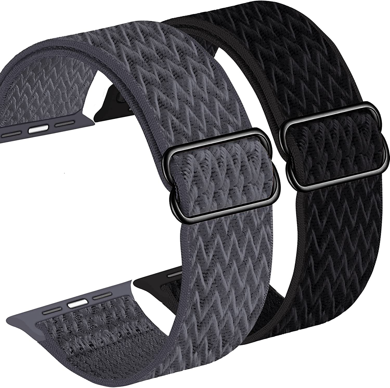 Fnker Stretchy Solo Loop Strap Compatible with Apple Watch Bands 38mm 40mm 42mm 44mm,Adjustable Nylon Braided Sport Elastic for Women Men Compatible with iWatch Series 6/SE/5/4/3/2/1
