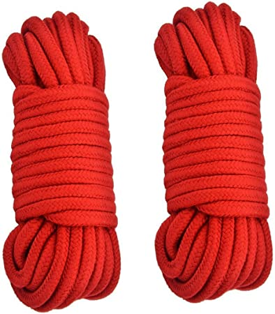 Soft Cotton Rope-32 feet 10m Multi-Function Durable Utilities Long Rope Red Purple