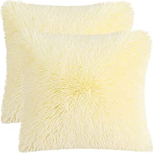 "PiccoCasa Pack of 2 Soft Fuzzy Faux Fur Throw Pillow Covers, Decorative Long Shaggy Cushion Covers, Soft Sofa Pillowcases for Livingroom Couch Bedroom Car Seat, 20"" x 20"" Light Yellow"
