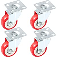 Online Best Service 4 Pack Caster Wheels Swivel Plate On Red Polyurethane Wheels (2 inch Plate)