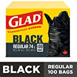 Glad Black Garbage Bags - Regular 74 Litres - 100 Trash Bags