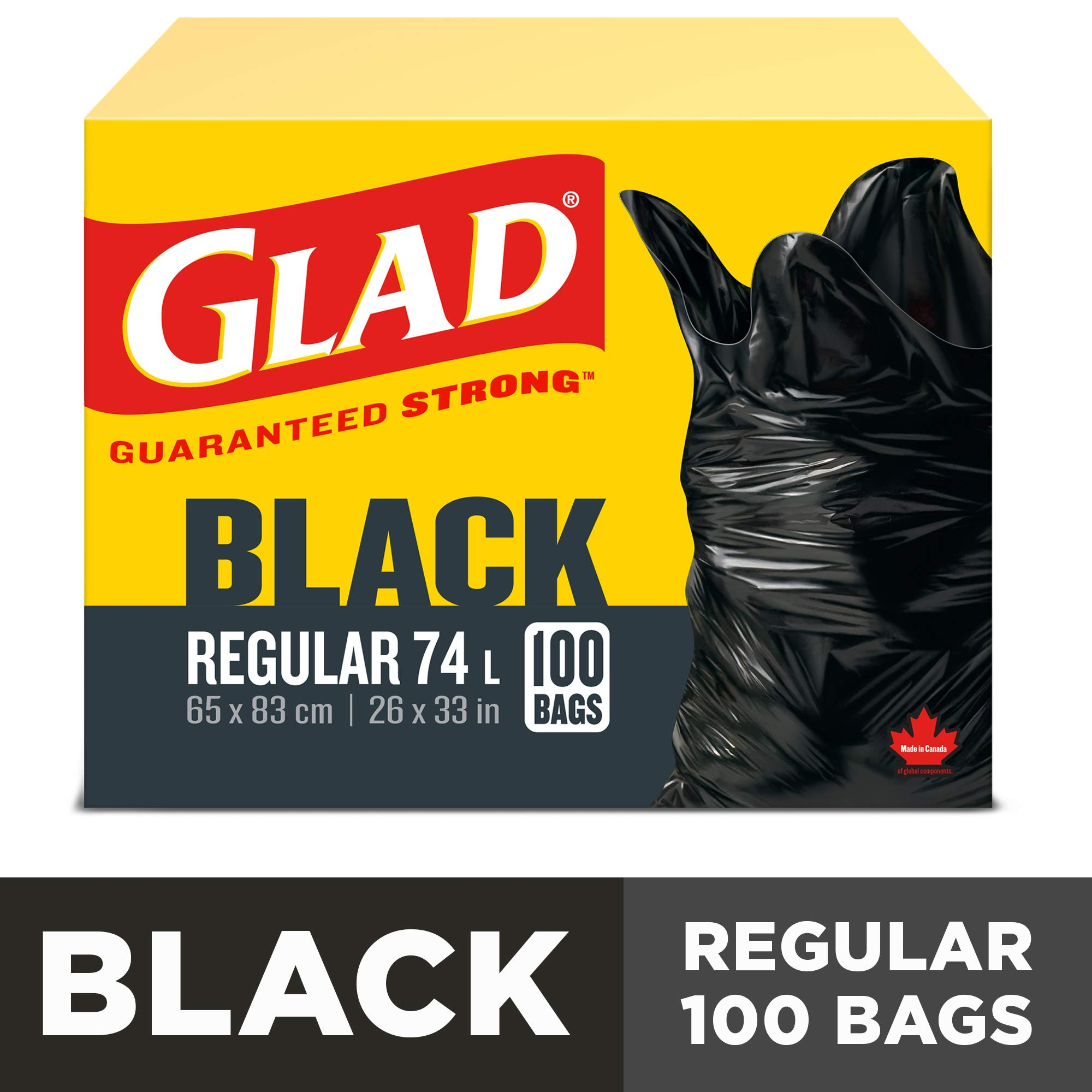 Glad Black Garbage Bags - Regular 74 Litres - 100 Trash Bags product image