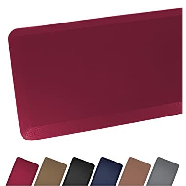 Anti Fatigue Comfort Floor Mat By Sky Mats - Commercial Grade Quality Perfect for Standup Desks, Kitchens, and Garages - Relieves Foot, Knee, and Back Pain, 20x32x3/4-Inch, Burgundy Red