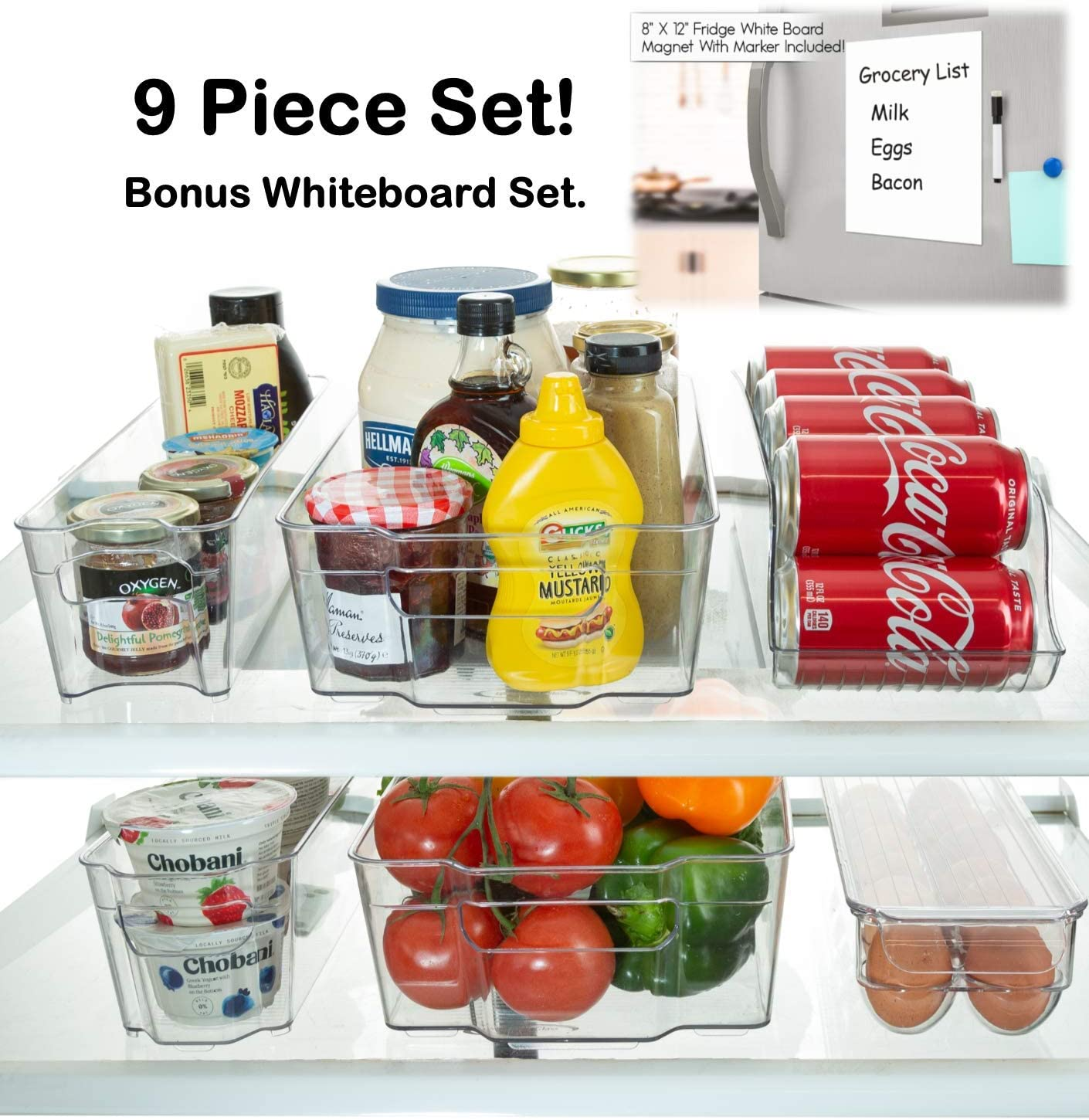 Etienne Alair Stackable Storage Refrigerator Organizer Bins for Fridge, Freezer, Pantry and Kitchen. Includes Bonus Magnetic Dry-Erase Whiteboard & Markers Set, Clear