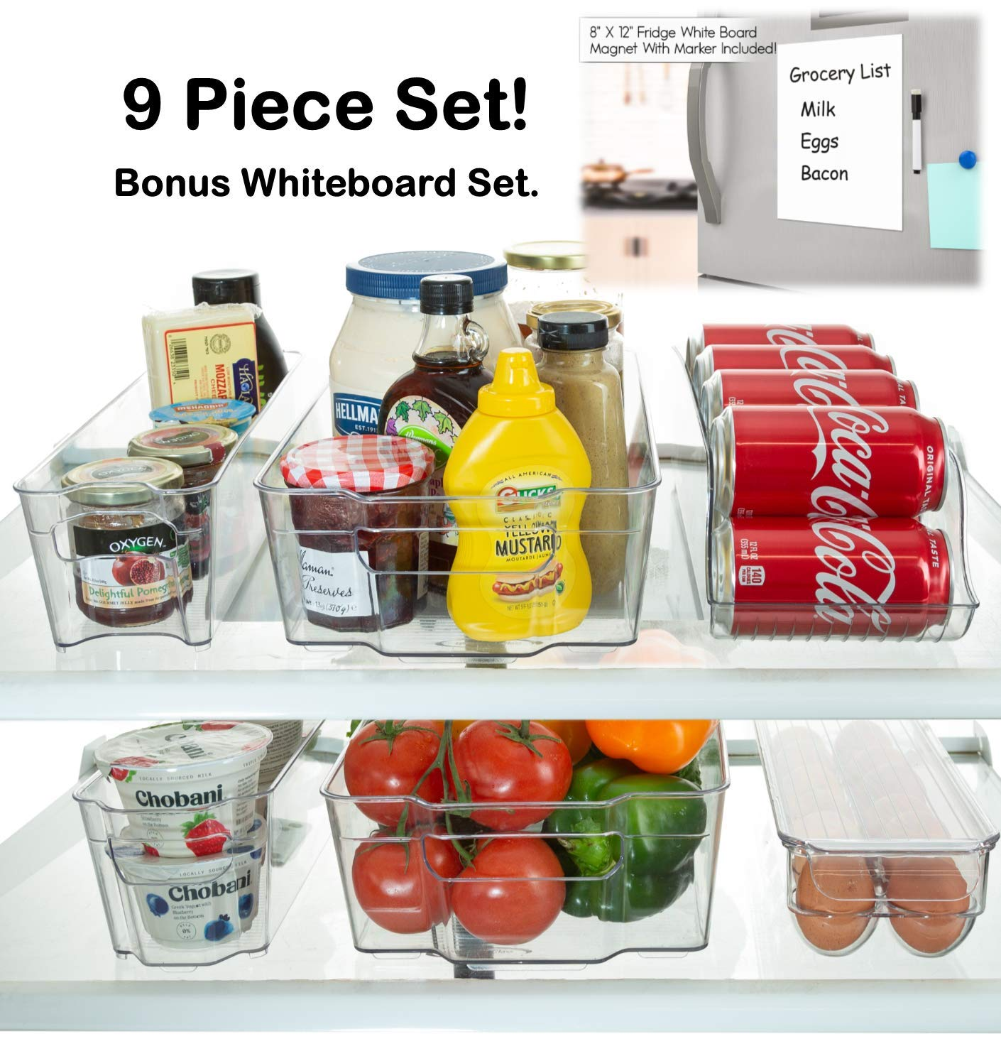 StorageMaid Stackable Storage Fridge Bins - Refrigerator Organizer Bins for Fridge, Freezer, Pantry And Kitchen. Includes Bonus Magnetic Dry-Erase Whiteboard & Markers Set (9-Piece Set)