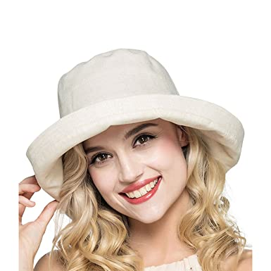 efb1f6fb9a9 Magracy Women Wide Brim Bucket Sun Hat UPF50+ Beach Cap with Bowknot for  Ladies Foldable Beige  Amazon.co.uk  Clothing