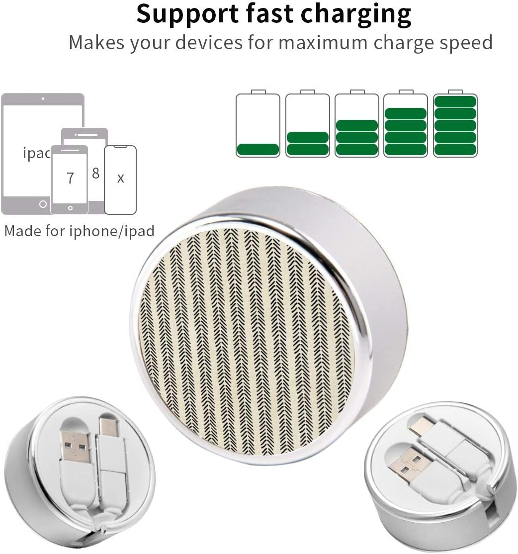 Multi Quick USB Charging Cable,Mud Cloth Black and White Arrowheads 2 in1 Fast Charger Cord Connector High Speed Durable Charging Cord Compatible with iPhone//Tablets//Samsung Galaxy//iPad and More