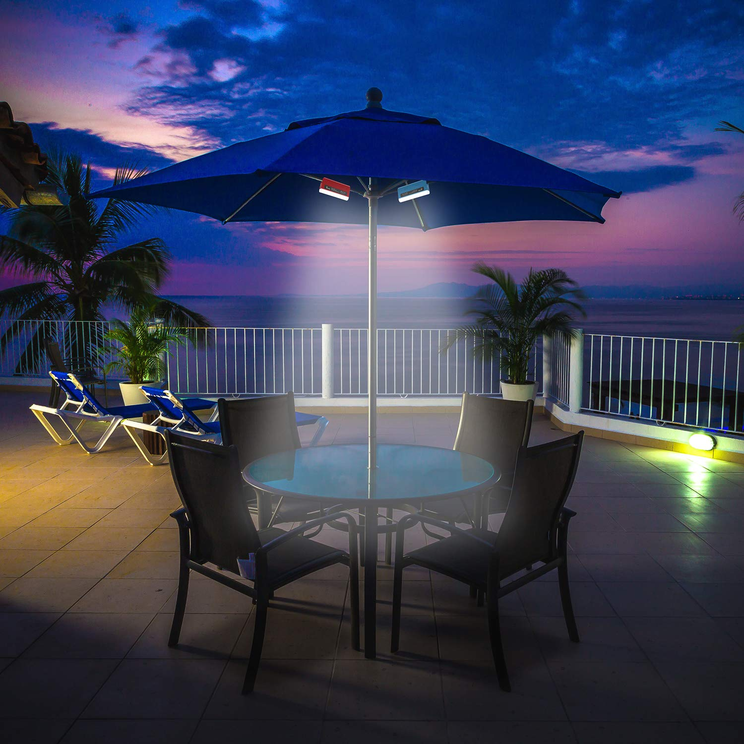 Tourke 9-10 Ft Patio Umbrella Light Outdoor Umbrella Pole Light, Rechargeable LED for Outdoor Patio Desk, Camping, Crank Mounted, Battery Operated (Blue, 2 pc)