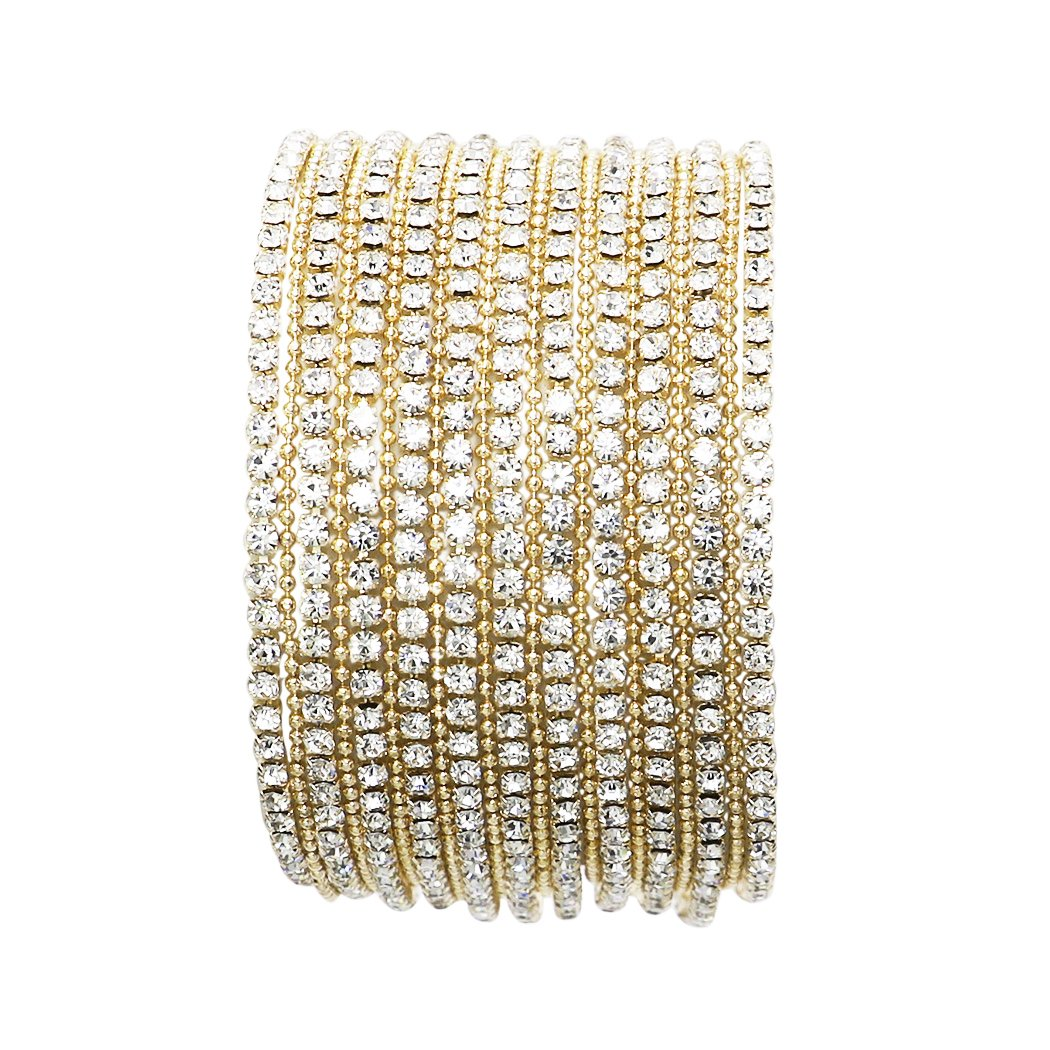 Rosemarie Collections Women's 11 Strand Rhinestone Statement Bracelet (Gold)