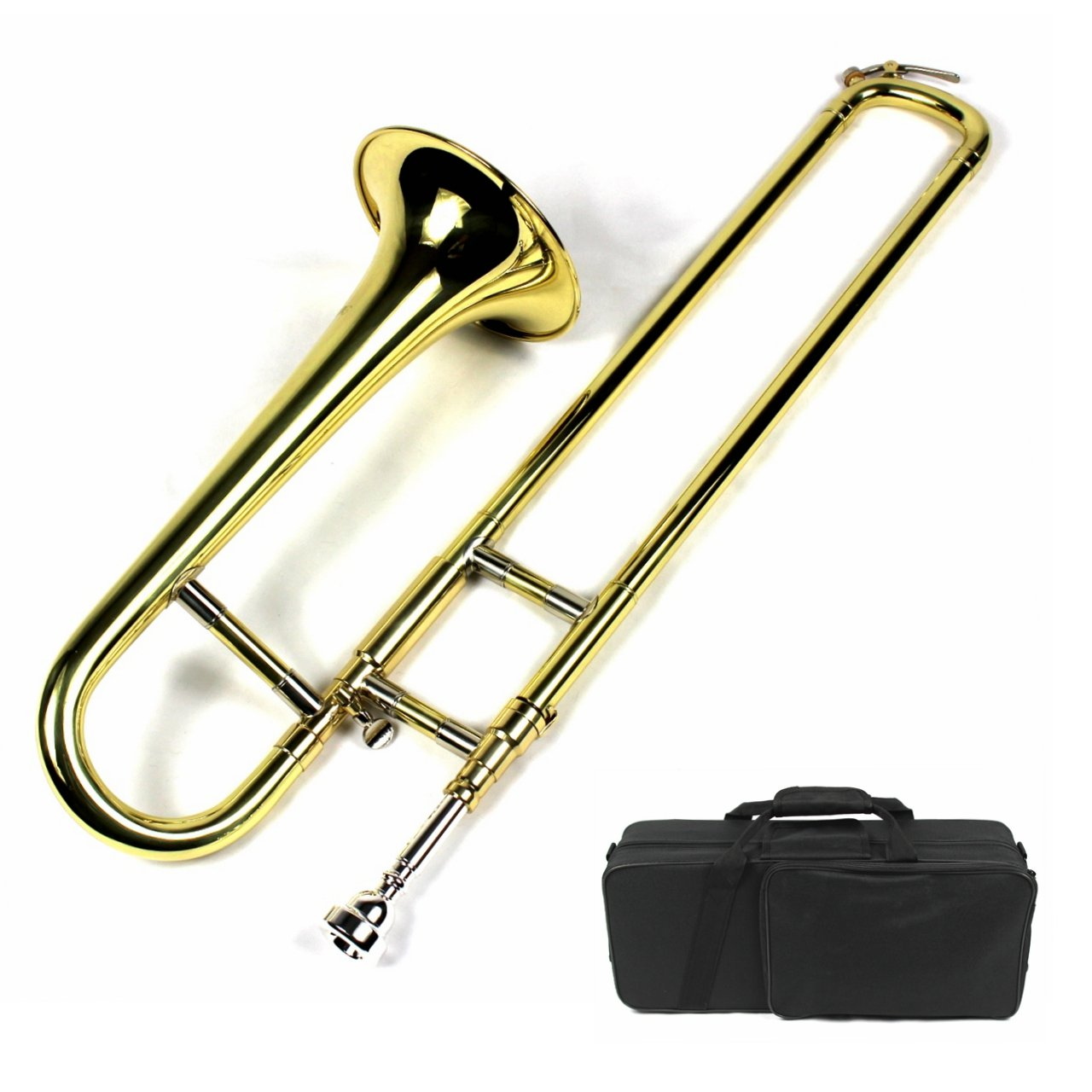Brand New Bb Mini Trombone w/ Case and Mouthpiece- Gold Lacquer Finish by Moz (Image #1)