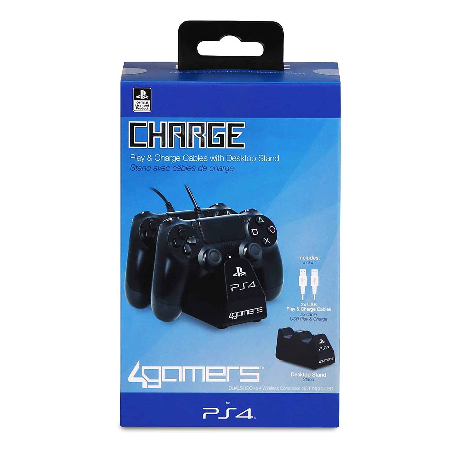 Amazon.com: 4Gamers Officially Licensed Dual Charge n Stand for Playstation 4 PS4: Electronics