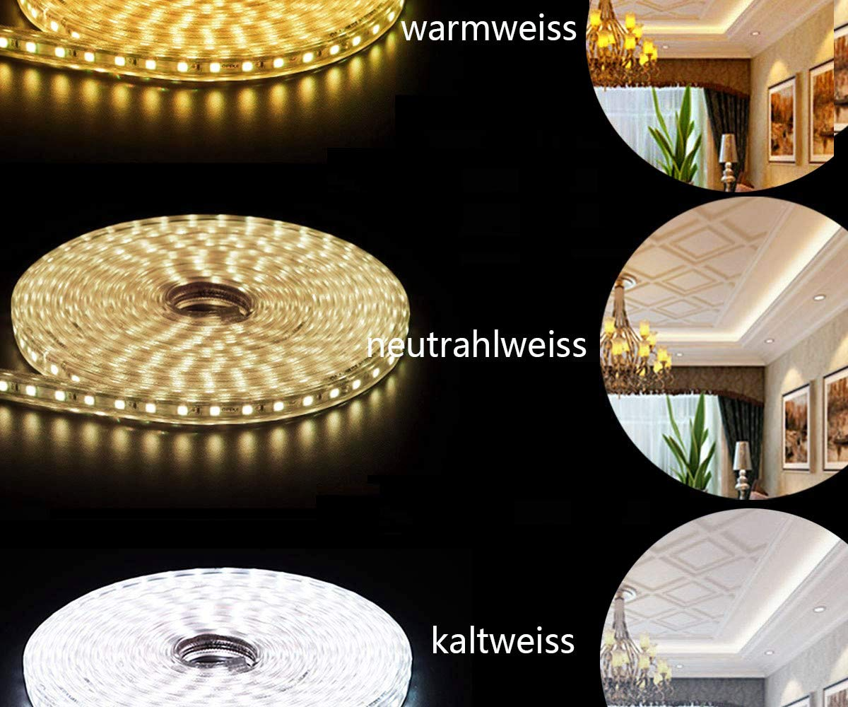 Ogeled 1-50M Bande LED 60 LED par m/ètre /à intensit/é variable /Étanche 230 V blanc chaud 5m